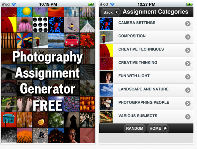 capture d'écran de l'application iPhotography Assignment Generator